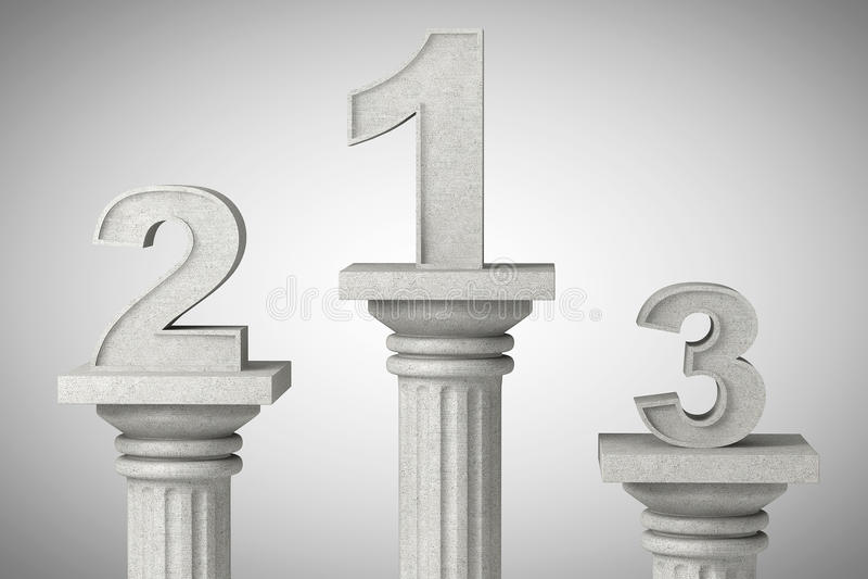 Numéros un, deux et trois au-dessus de la colonne classique illustration stock