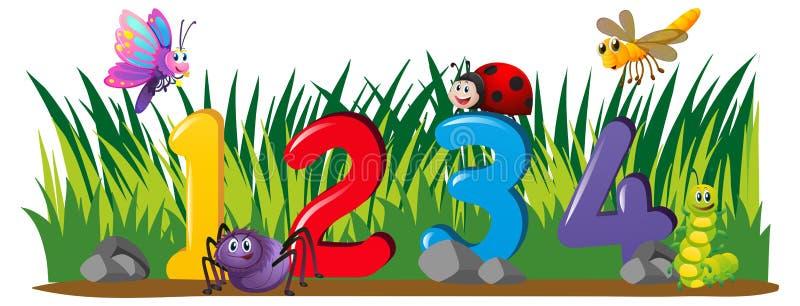 Numéros un quatre dans le jardin illustration stock