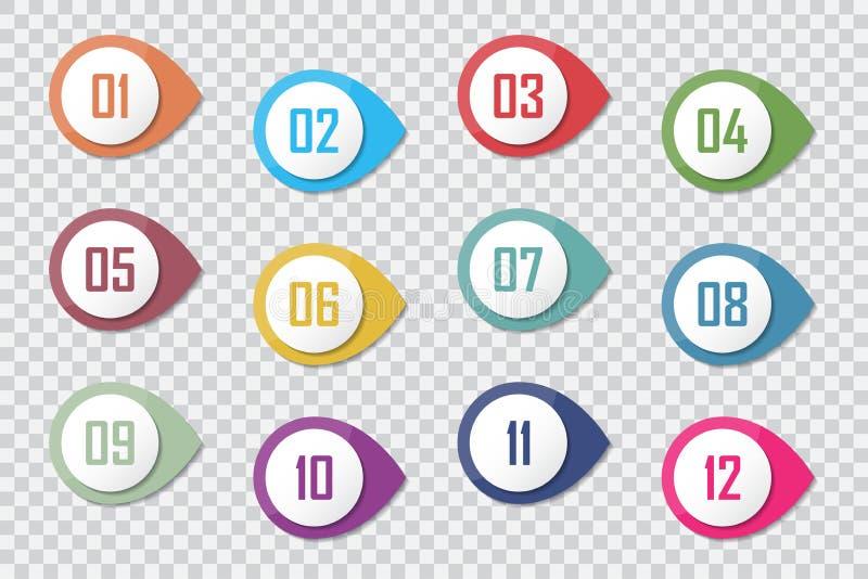 Numérotez les marqueurs 3d 1 à le vecteur 12 colorés de gros point noir illustration libre de droits