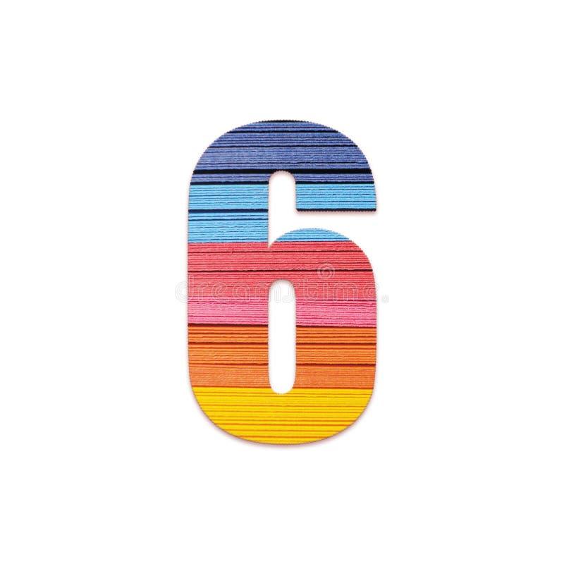 Num?ro 6 Papier de couleur d'arc-en-ciel photos libres de droits