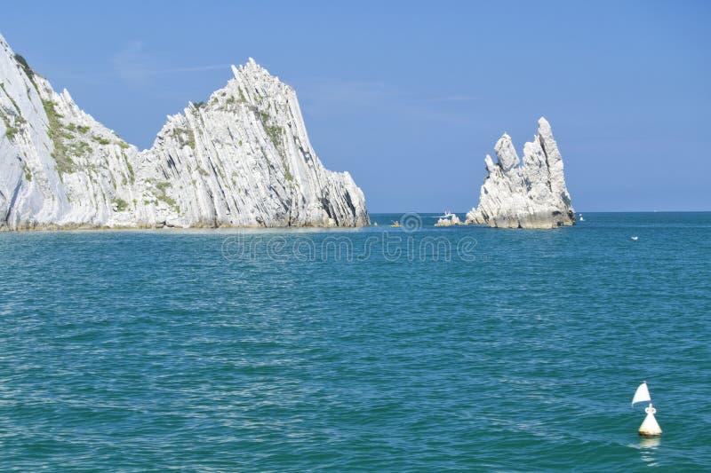 Numana - οφειλόμενος κόλπος Sorelle - άσπρη ακτή με το μπλε ουρανό και τη θάλασσα Για την έννοια θερινών διακοπών στοκ φωτογραφία