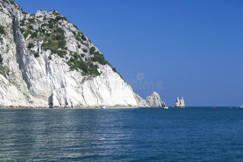 Numana - οφειλόμενος κόλπος Sorelle - άσπρη ακτή με το μπλε ουρανό και τη θάλασσα Για την έννοια θερινών διακοπών στοκ εικόνες
