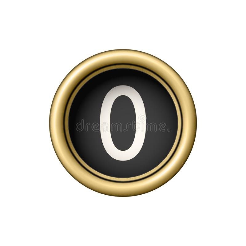 Free Number 0. Vintage Golden Typewriter Button. Stock Photography - 102544582