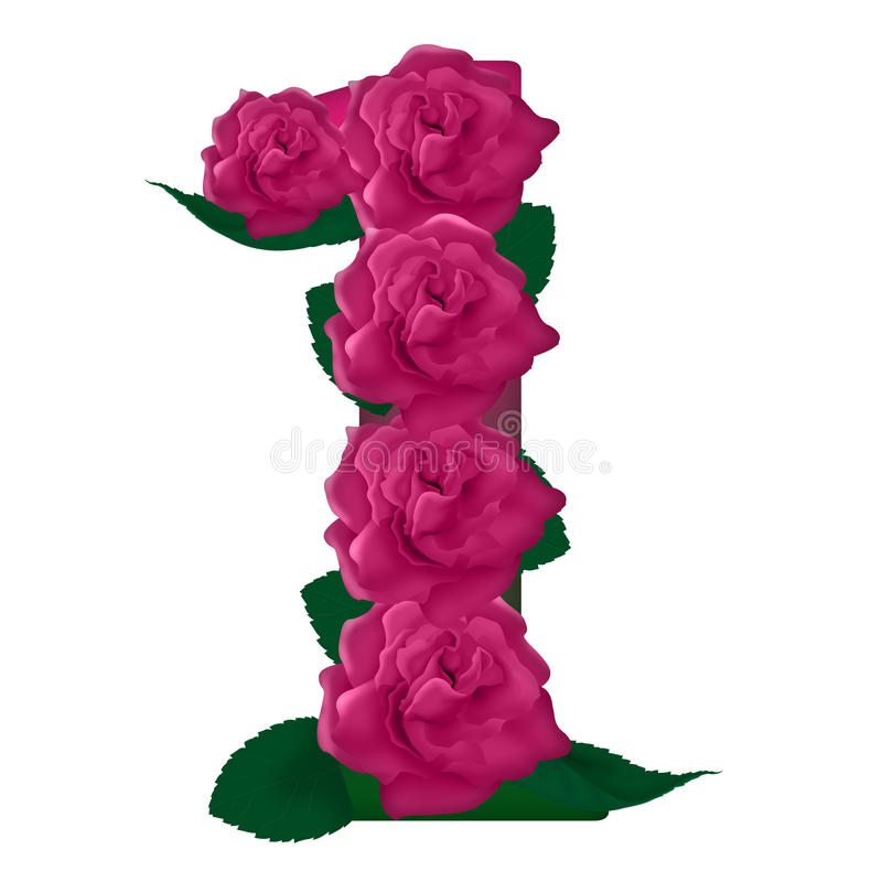 Free Number 1 Cute Pink Roses Illustration Stock Photos - 78765613
