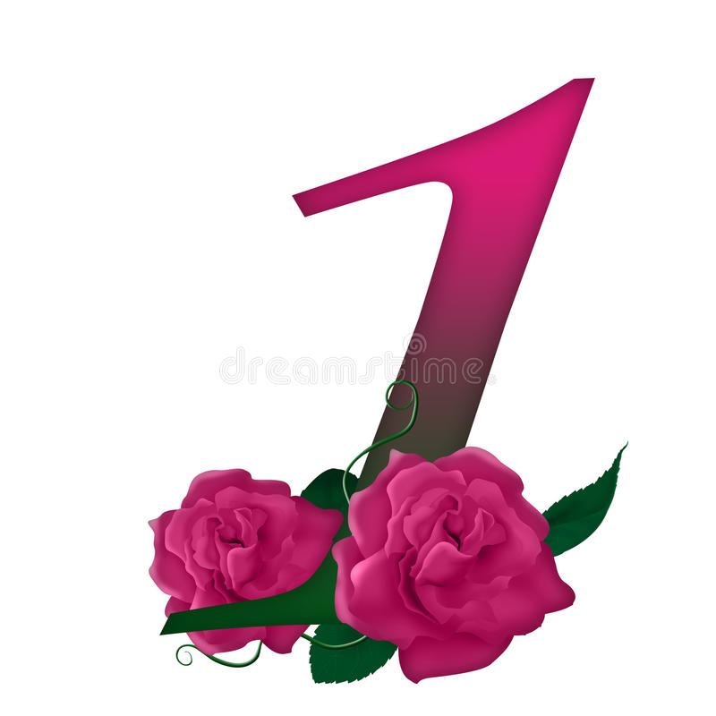 Free Number 1 Pink Floral Royalty Free Stock Images - 78719589