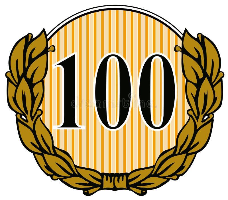 Number 100 with laurel leave royalty free illustration
