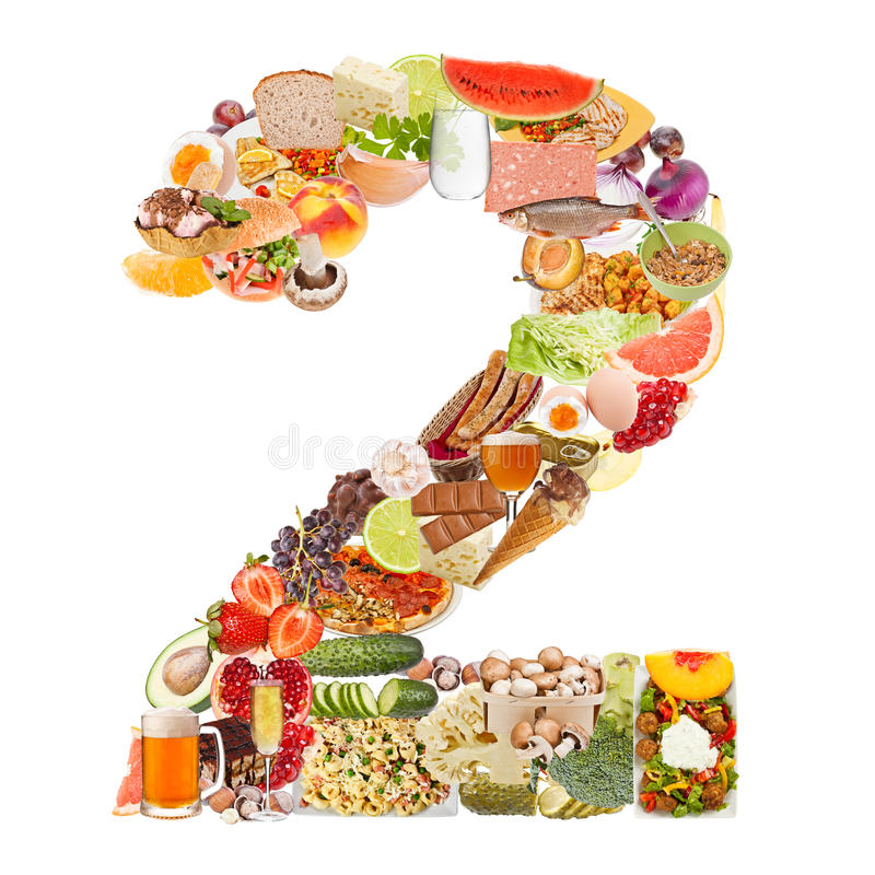 Number 2 made of food. Isolated on white background stock images