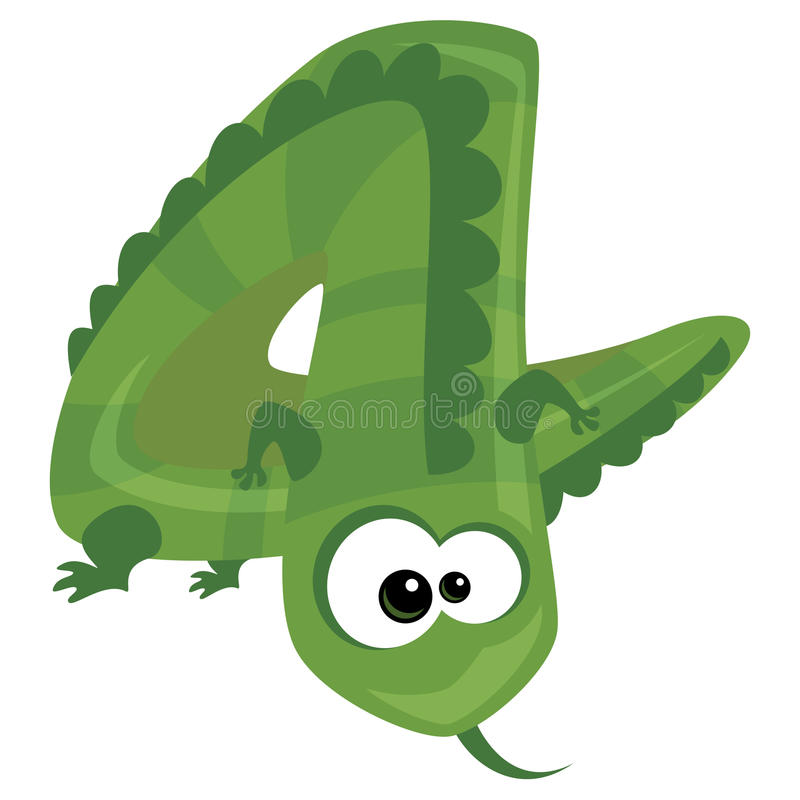 Free Number 4 Cartoon Funny Lizard Royalty Free Stock Photo - 31305395