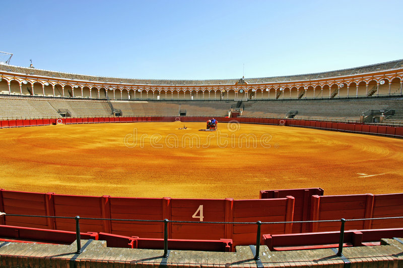 Number 4 gate at large bullring in Seville Spain stock photos