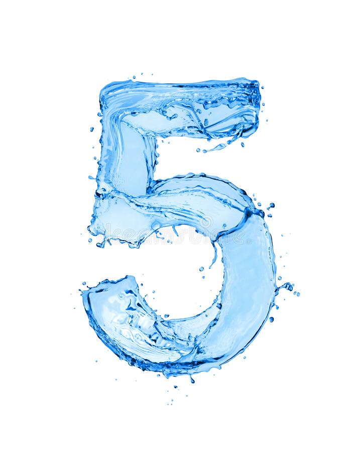 Free Number 5 Made Of Water Splashes, Isolated On A White Background Stock Images - 158687454