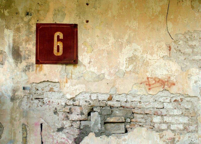 Download Number 6 stock photo. Image of texture, daub, grunge, brick - 113878