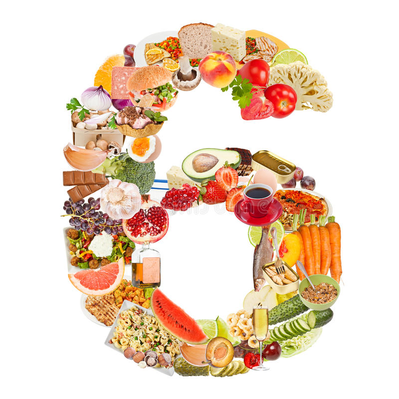 Number 6 made of food stock photo