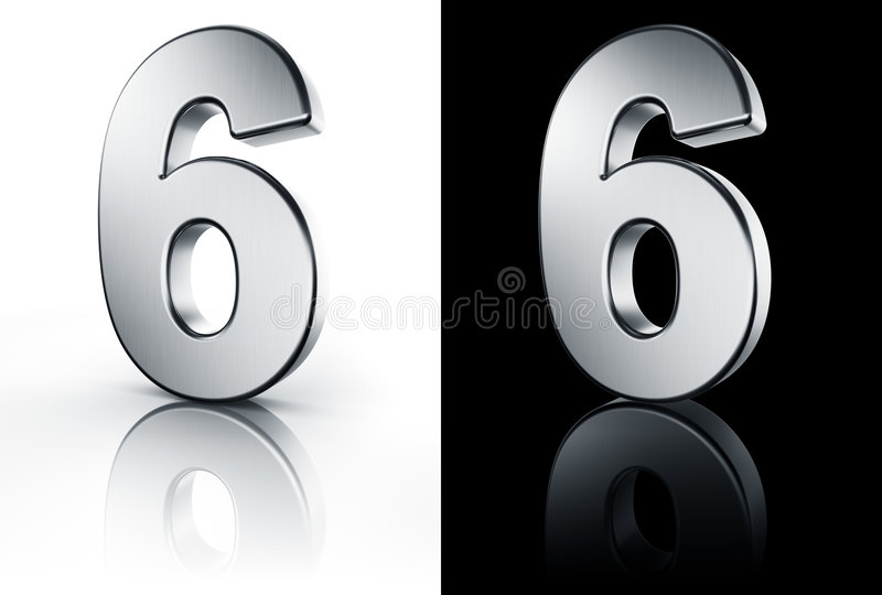 Download The Number 6 On White And Black Floor Stock Illustration - Illustration of isolated, grey: 6048121