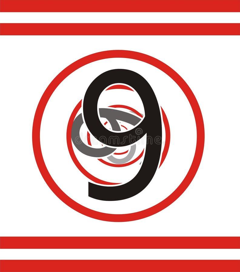 Number 9 falling in vortex royalty free illustration