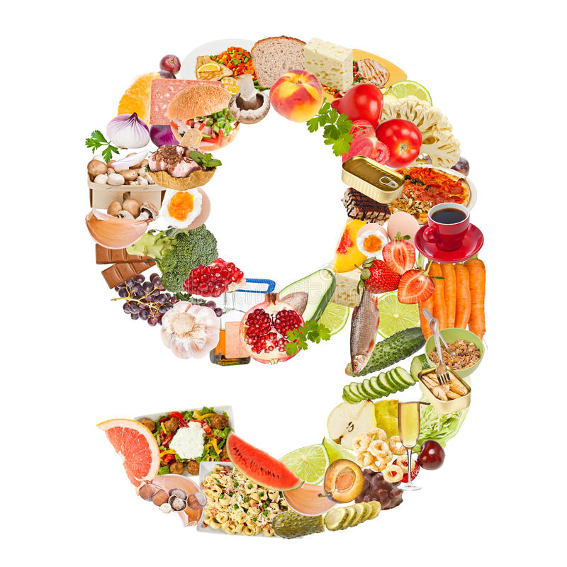 Number 9 Made Of Food Royalty Free Stock Image