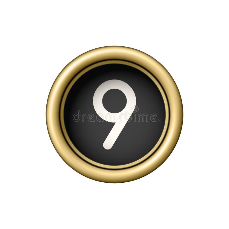 Free Number 9. Vintage Golden Typewriter Button. Royalty Free Stock Photos - 102544638