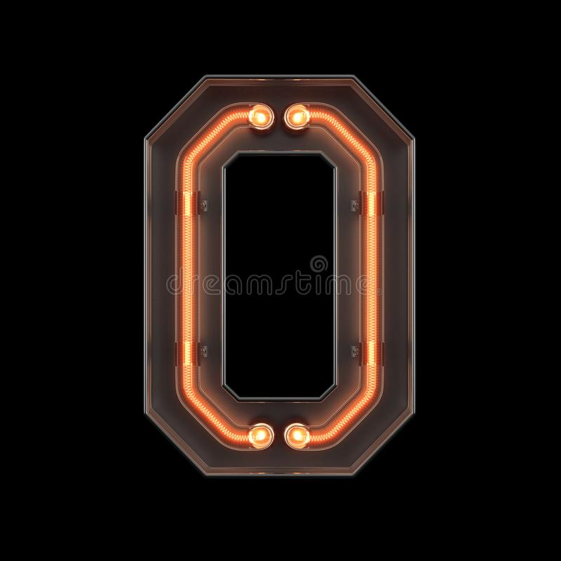 Number 9, Alphabet Made From Neon Light With Clipping Path