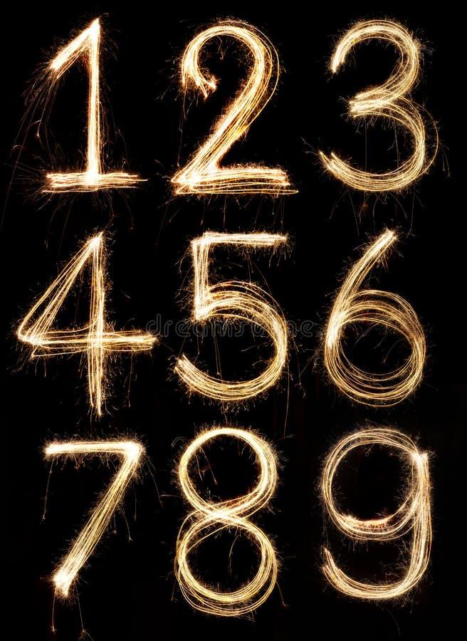 Number alphabet. Made from sparkler firework, light alphabet stock image