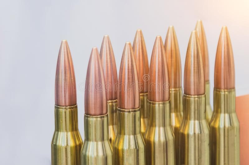 A number of ammunition for weapons weapons.  stock images