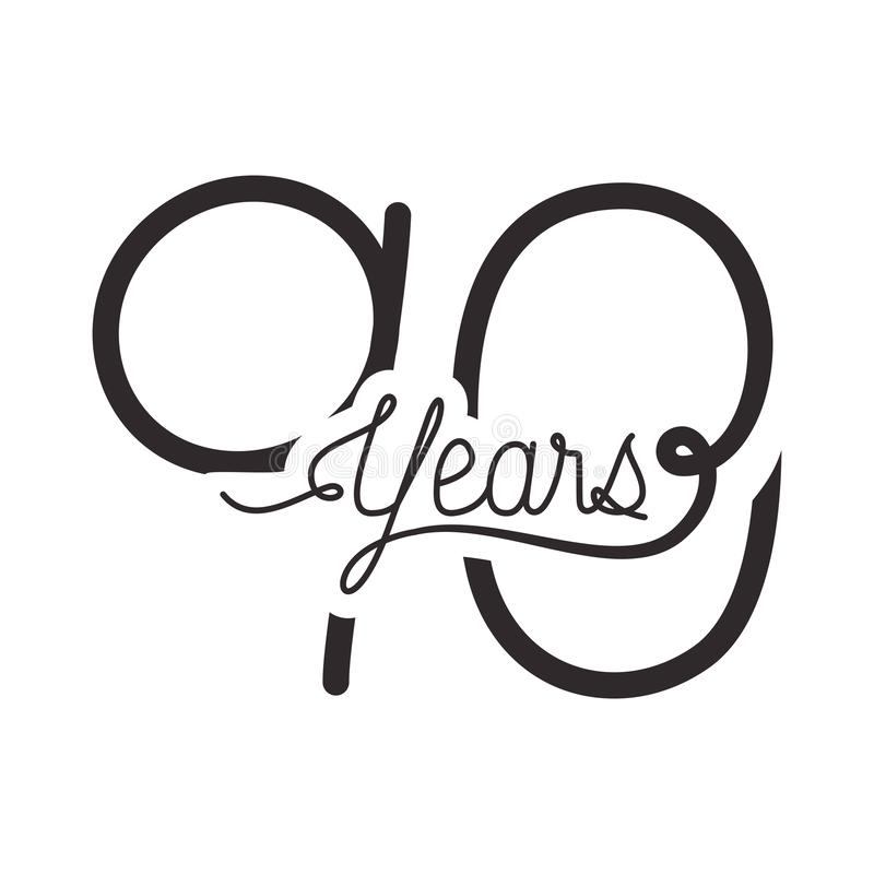Number 90 for anniversary celebration card icon vector illustration