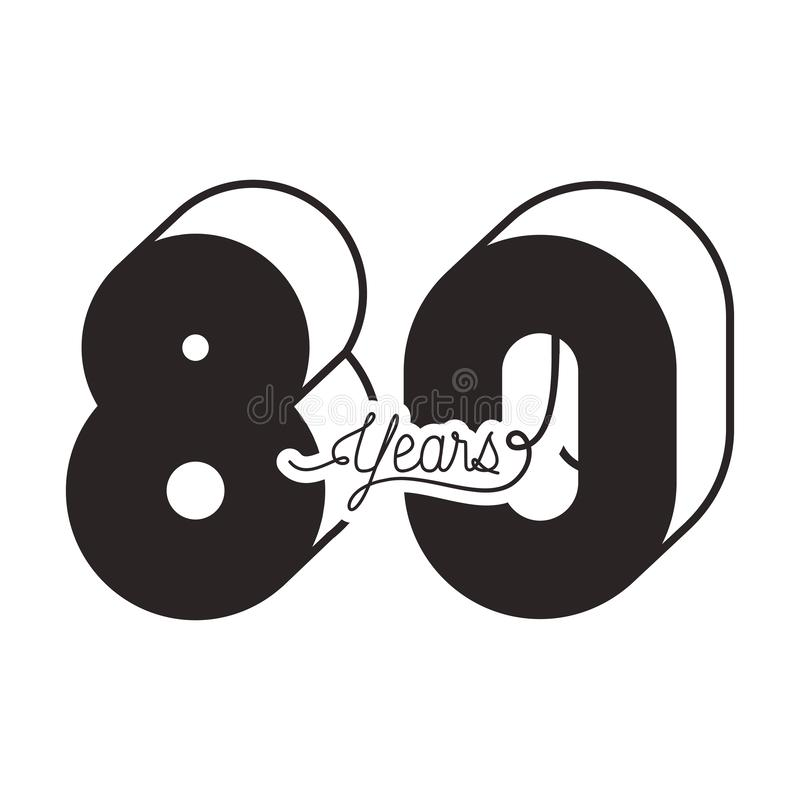 Number 80 for anniversary celebration card icon vector illustration