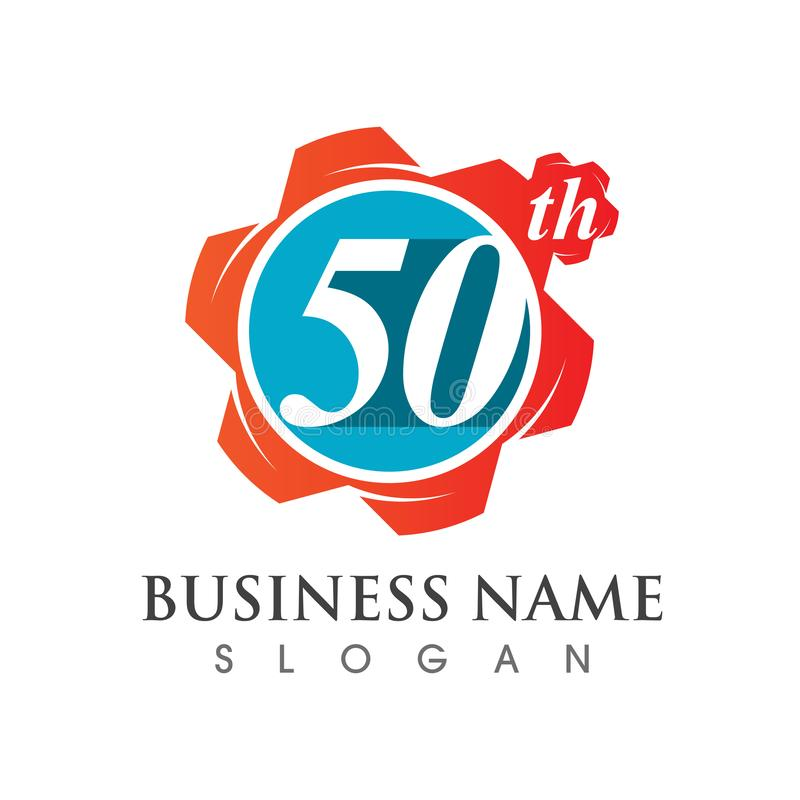 Number 50 of anniversary logo template design royalty free illustration