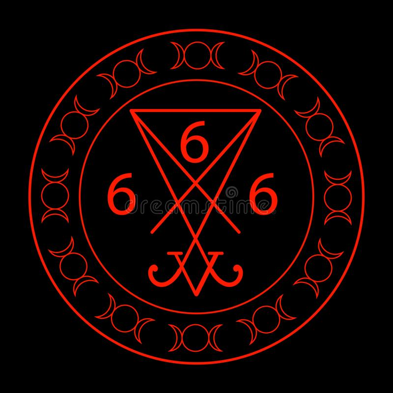666- the number of the beast. With the sigil of Lucifer symbol stock illustration