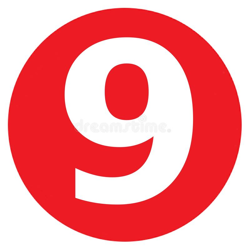 The Number 9 Big Red Dot Letters And Numbers Stock Illustration -  Illustration of business, blue: 166634756