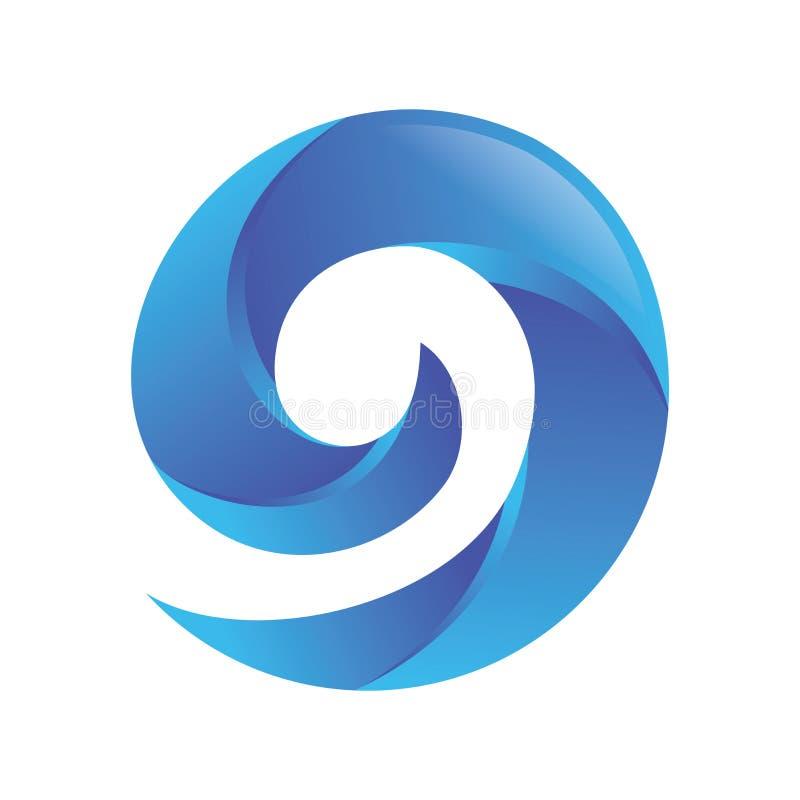 Number 9 Blue Wave Logo royalty free illustration