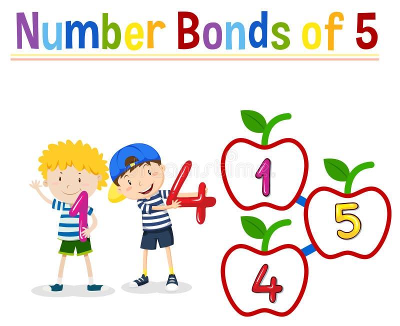 Number bonds of five. Illustration vector illustration
