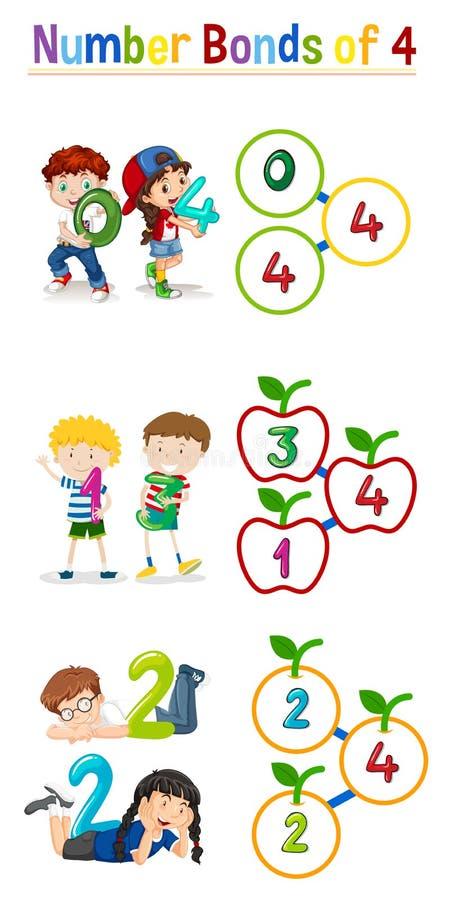 Number bonds of four. Illustration royalty free illustration