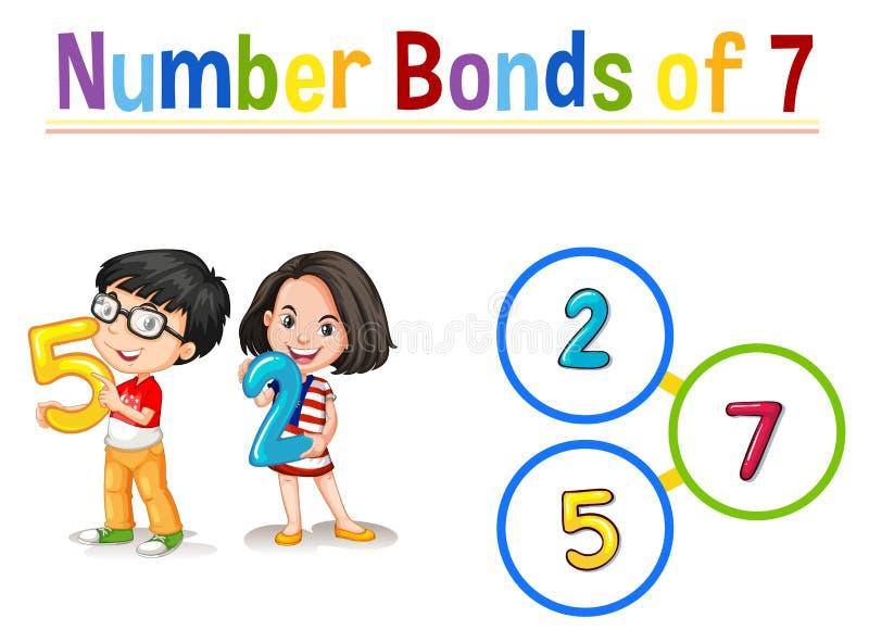 Number bonds of 7 royalty free illustration