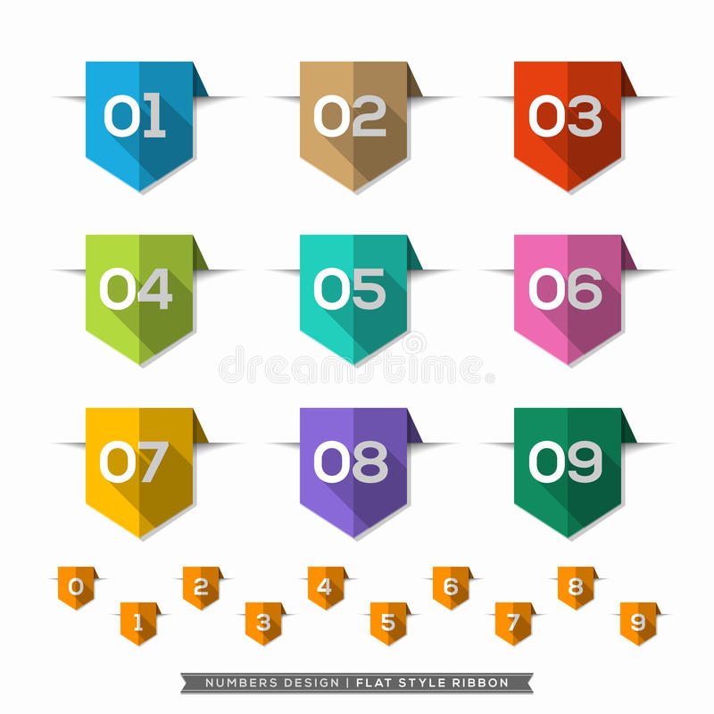 Number in Bookmark Label long shadow Flat Icons Set royalty free illustration