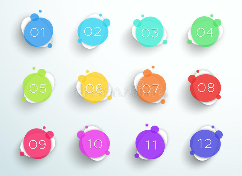 Number Bullet Point Abstract Colorful Circles 1 to 12 Vector. 3d, colorful number bullet point steps 1 to 12 infographic with transparent, abstract circles and vector illustration