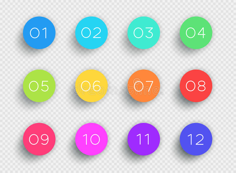 Number Bullet Point Colorful 3d Circles 1 to 12 Vector. 3d colorful number bullet point circles 1 to 12 infographic with editable transparent drop shadows on a royalty free illustration