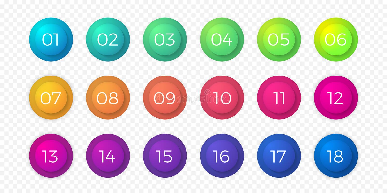 Number bullet point flat color gradient web button vector circle icons. Number bullet point flat color gradient web icons set. Step circle buttons or 18 number vector illustration