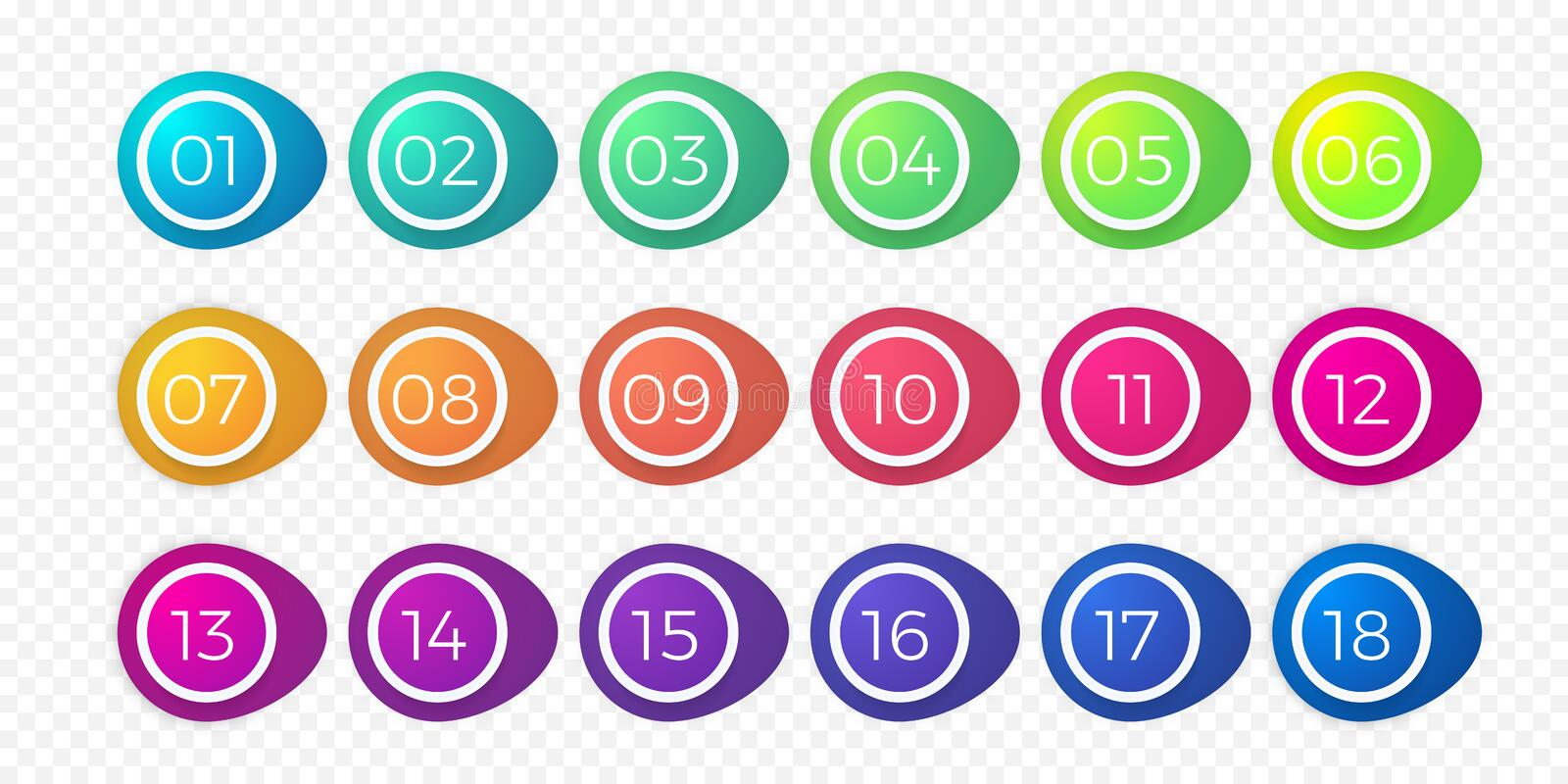 Number bullet point flat color gradient web button vector circle icons. Number bullet point flat color gradient web icons set 1 to 18. Vector step circle buttons vector illustration