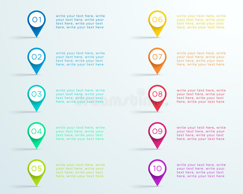 Number Bullet Point Markers 1 to 10 B vector illustration