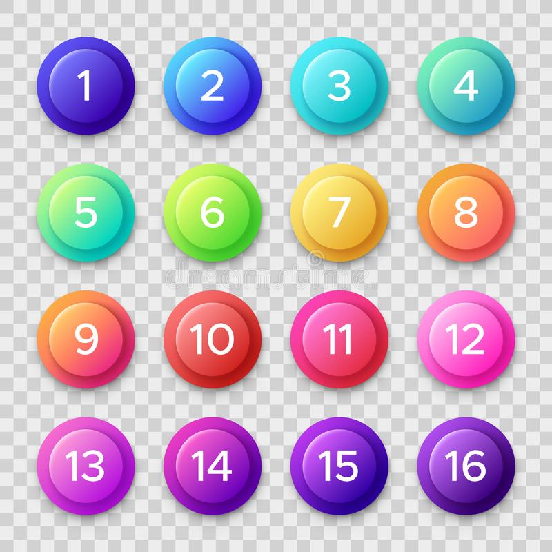 Number bullets. Circle buttons with color gradients and numbers. Isolated web button vector set royalty free illustration