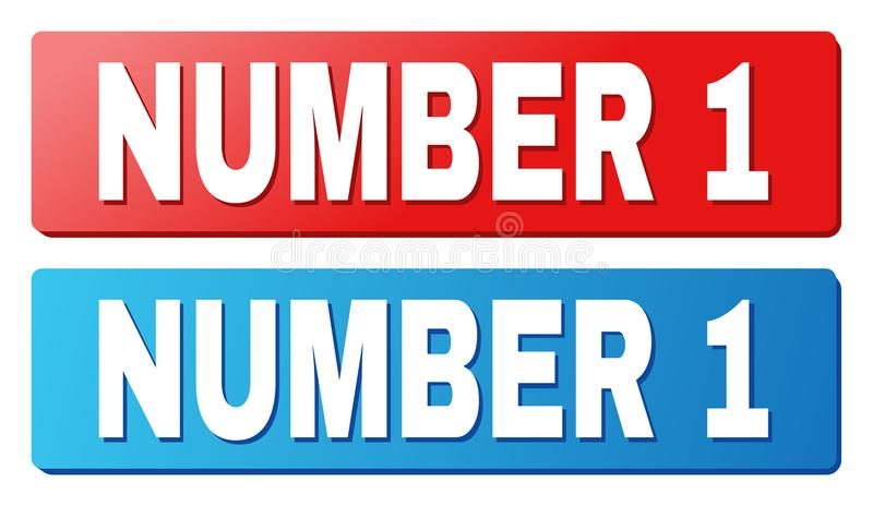NUMBER 1 Caption on Blue and Red Rectangle Buttons. NUMBER 1 text on rounded rectangle buttons. Designed with white caption with shadow and blue and red button stock illustration