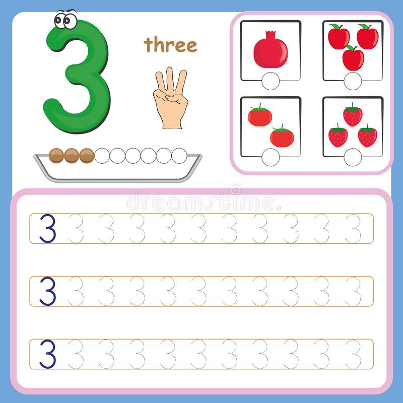 Number cards, Counting and writing numbers, Learning numbers, Numbers tracing worksheet for preschool stock illustration