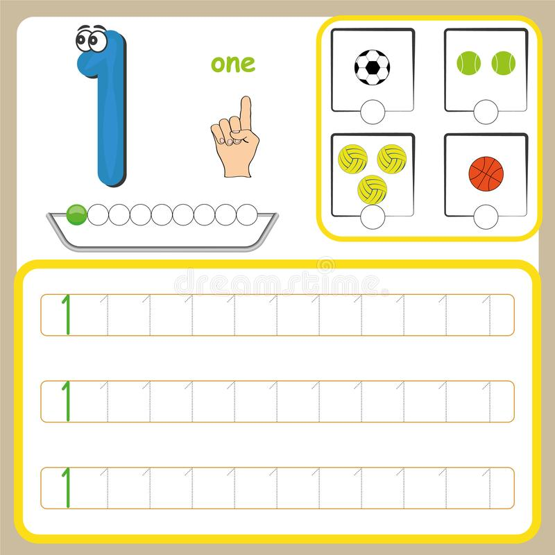 Number Cards, Counting And Writing Numbers, Learning Numbers, Numbers  Tracing Worksheet For Preschool Stock Illustration - Illustration Of  Counting, Cute: 128132799