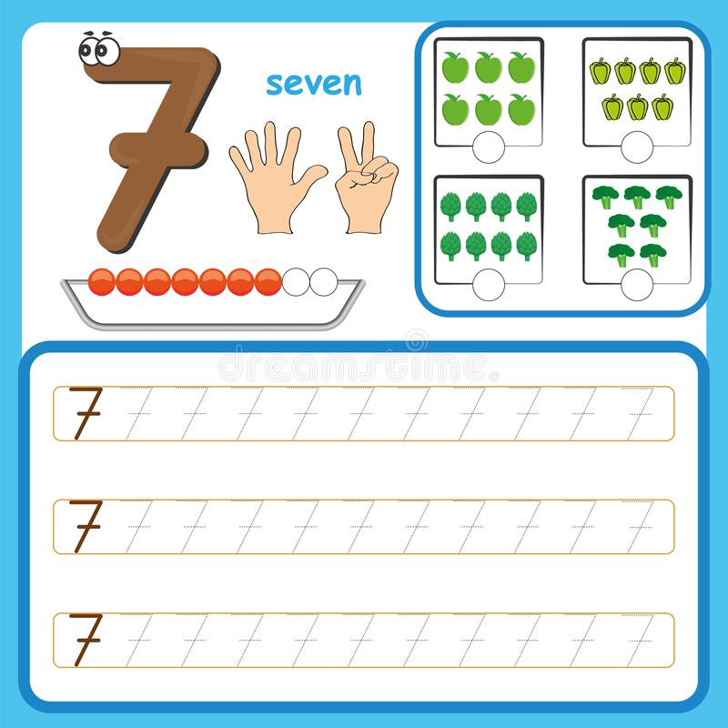 Number cards, Counting and writing numbers, Learning numbers, Numbers tracing worksheet for preschool. Number cards, Counting and writing numbers, Learning royalty free illustration