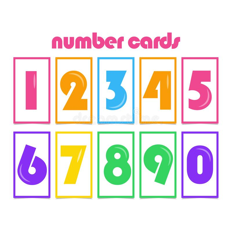 Number Cards for Kids Vector Template Design Illustration. Boy, girl, elementary, primary, character, cartoon, colorful, mathematics, three, four, five stock illustration