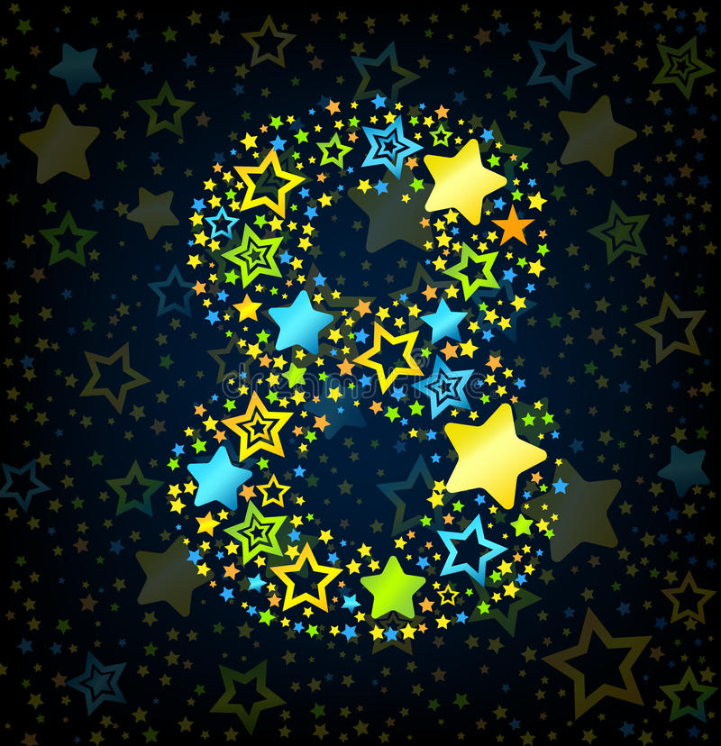 Number 8 cartoon star colored royalty free illustration