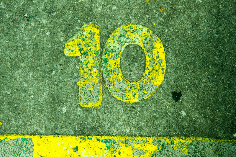Number10 on cement. Number 10 on the concrete floor royalty free stock photography
