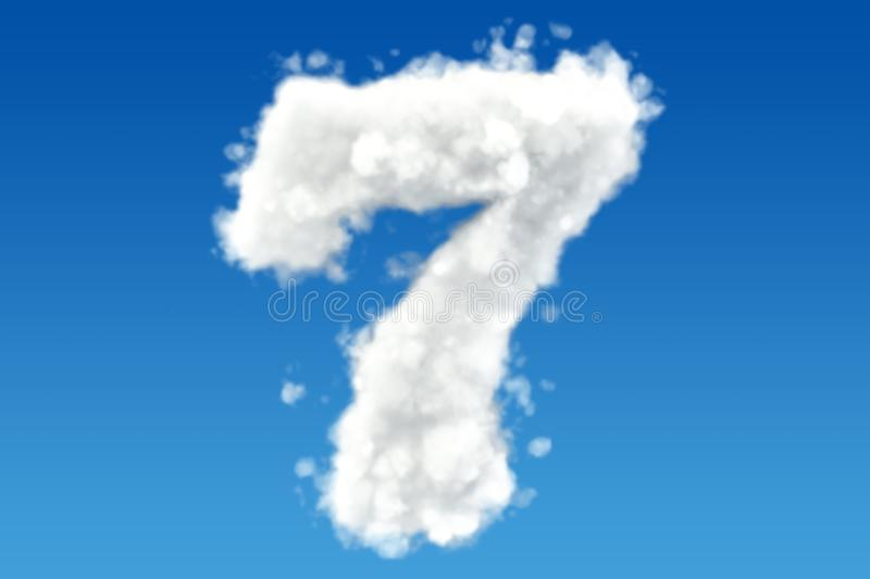 Number 7, from clouds in the sky. 3D rendering. Number 7, from clouds in the sky. 3D royalty free illustration