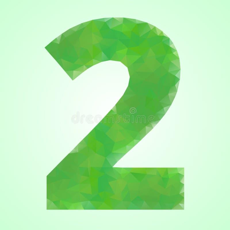 Number 2 Color Green Crystal vector illustration