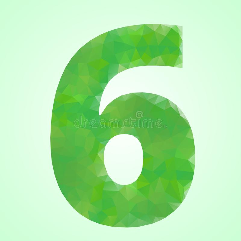 Number 6 Color Green Crystal stock illustration