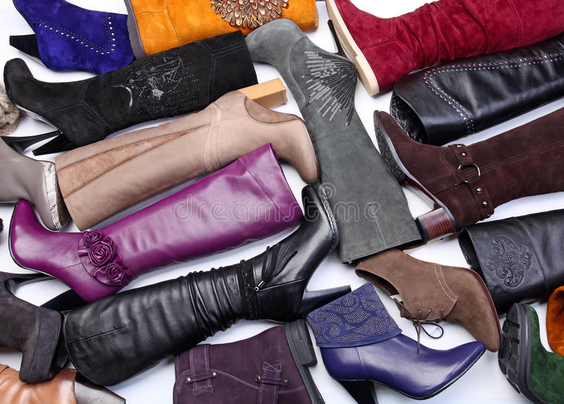 Number of colored female boots stock image